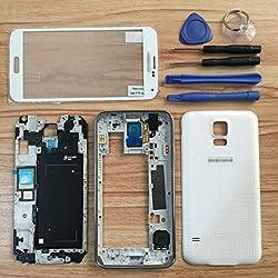 White Oem Full Housing Case For Samsung Galaxy S5 I9600 G900 Housing Cover Frame Door Back Case Screen Glass Lens For S5 I9600 G900