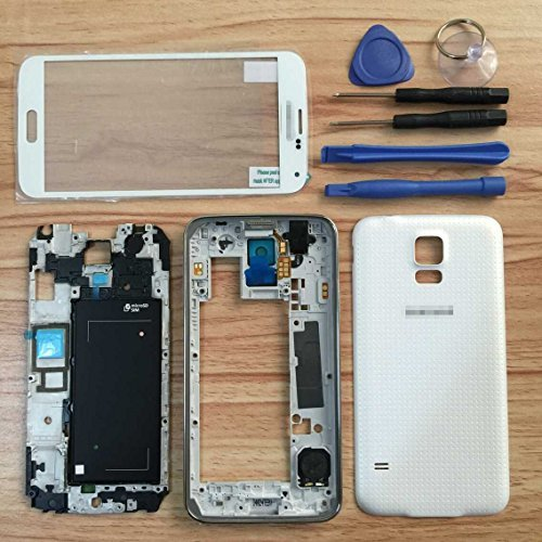 White OEM Full Housing Case for Samsung Galaxy S5 I9600 G900 Housing Cover Frame Door Back Case Screen Glass Lens for S5 i9600 G900