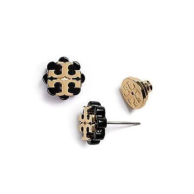 2dc68fc76 Amazon.com: Tory Burch Flower Resin Logo Earrings - Black Gold: Jewelry