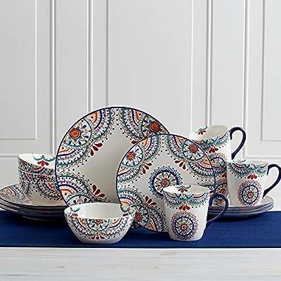 Pfaltzgraff 5229621 Delano 16-Piece Porcelain Dinnerware Set Multi-Color