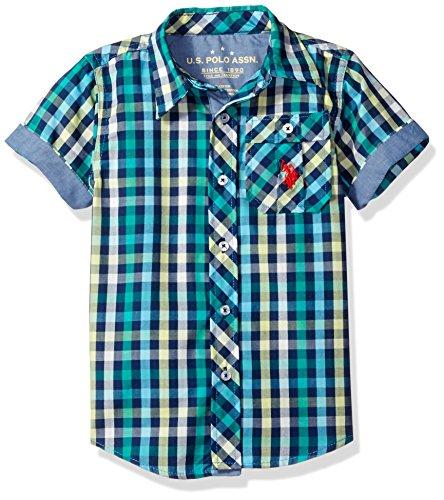 Short Sleeve Plaid Woven Shirt (U.S. Polo Assn. Little Boys' Short Sleeve Plaid Woven Shirt, Classic Navy, 7)