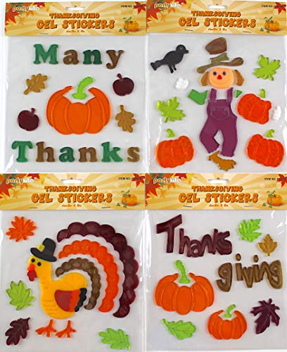 Assorted Variety Fall Gel Clings: Many Thanks Pumpkins Scarecrow Turkey Leaves Thanksgiving Decorations for Home Office Windows Mirrors and More