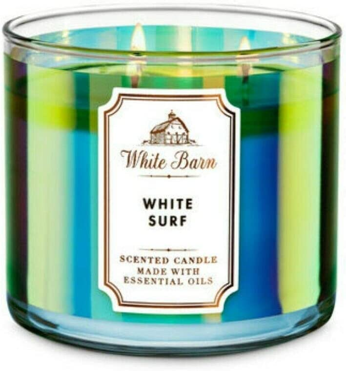 BATH /& BODY WORKS WHITE BARN WHITE SURF SCENTED 3 WICK CANDLE 14.5oz NEW!