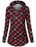SUNGLORY Women's Pullover Hooded Sweatshirt Long Sleeve Color Block Tunic Top With Pockets