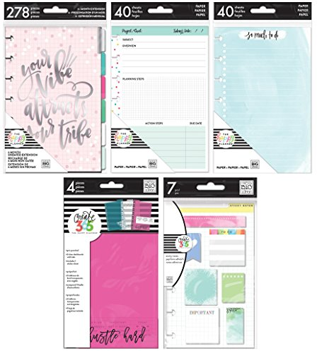Mini Happy Planner Accessories Bundle - Mini Monthly Extension, Watercolor Fill Paper, Project Fill Paper, Dashboards and Sticky Notes - 5 Items