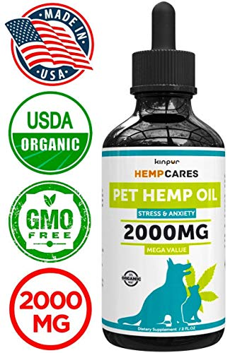 Hemp Oil for Dogs & Cats - 2000mg -100% A Organic Pet Hemp Oil - Anxiety Relief for Dogs & Cats - Supports Hip & Joint Health - Grown & Made in USA - Natural Relief for Pain - Omega 3, 6 & 9