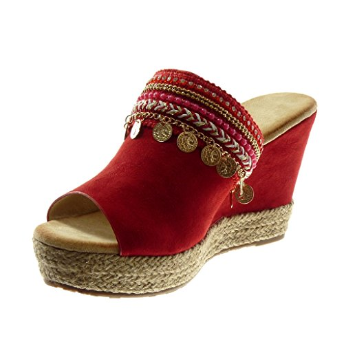 Cordon toe De 10 De Plateforme Des Rouge Femmes Cm Plate Coin on Bijoux forme Mode Peep Fantaisie Angkorly Chaussures Slip Espadrilles Mules Uq4Fqxnd