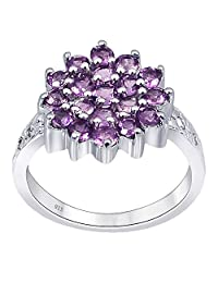 Multiple Stone Anniversary Ring for Women by Orchid Jewelry : Sterling Silver Promise Ring for Her, Multi Birthstone Ring Sets for Women, Ring Size 7