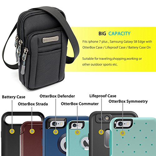 Leisure Nylon Cell Phone Small Shoulders Bag Crossbody Pouch Smartphone Case Outdoor Sports Travel Waist Pack for iPhone 8 Plus iPhone X iPhone 7 plus with Otterbox case and more. (Black)