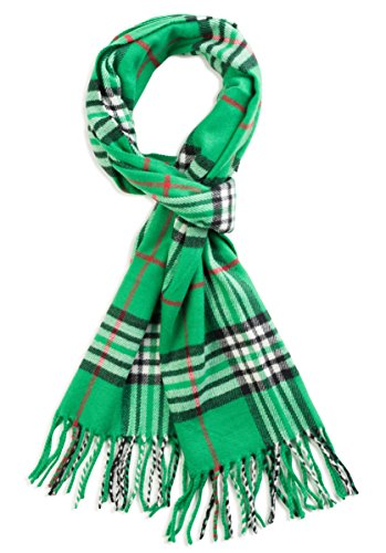 Veronz Super Soft Luxurious Classic Cashmere Feel Winter Scarf (Green Plaid)