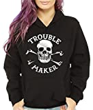 Women's Funny Skull Hoodie Hooded Sweatshirt Kids Trouble Maker Offensive Biker