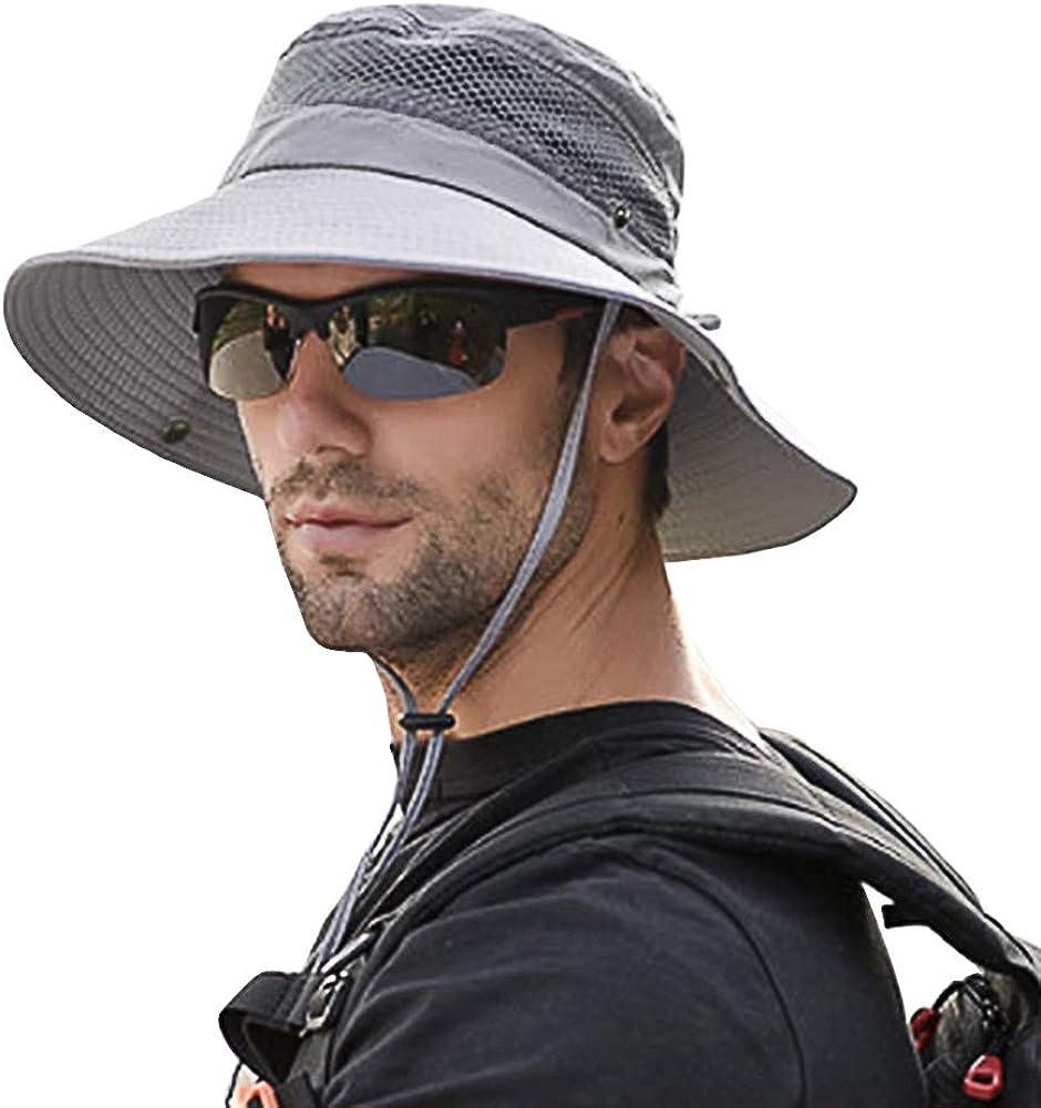 SIYWINA Hombres Sombrero de Pescador Verano Protección UV Sombreros de al Aire Libre