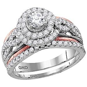 14k White Rose Gold Infinity Halo Round Diamond Engagement Ring & Wedding Band Set Bridal Set 1-1/5 ctw Size 5.5