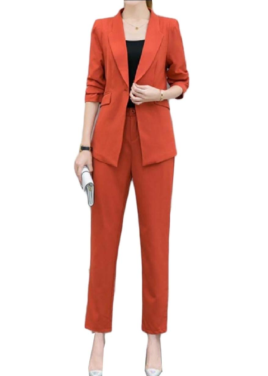Tootless-Women Curvy Trim-Fit Button 2 Piece Pure Top Jacket Long Pants Red S