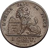 1845 Belgium King LEOPOLD I 1st King Centime Antique Coin with LION i55188