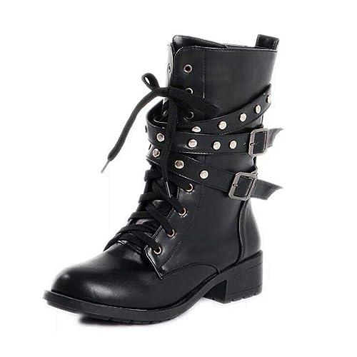 Huatime Botines Tachuelas Hebilla - Mujer Martín Botas Tubo Medio Lace Up Hebilla Strappy Biker Punk Negro Militar Combate Cuero Zapatos: Amazon.es: Zapatos ...