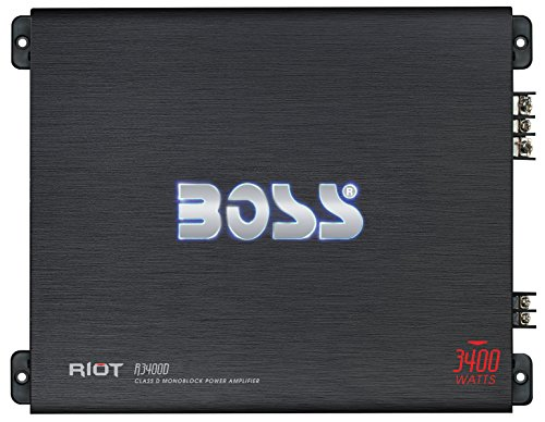 BOSS Audio R3400D - Riot 3400 Watt, 1, 2, 4 Ohm Stable Class D Monoblock Car Amplifier with Remote Subwoofer Control