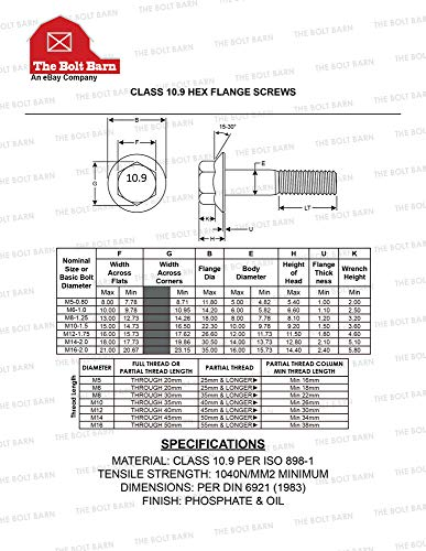 Business & Industrial M8-1.25x70 Metric Hex Flange Bolts Grade ...