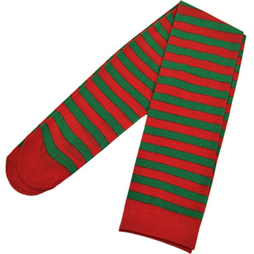 Chainsee Womens Christmas Over Knee Red Green Striped Elf Tights Stockings  Red And Green