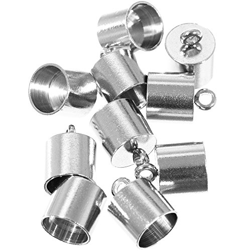 (Craft County 10 Pieces 12mmX7mm and 13mmX8mm, Stainless Steel Silver Smooth Cord End Caps Finding DIY)
