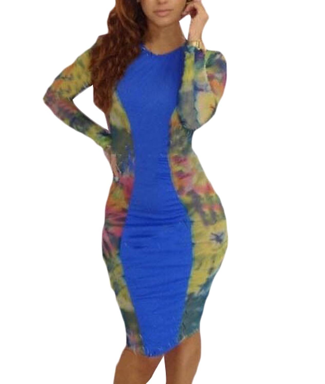 Generic Womens Long Sleeve O-meck Sexy Nightclub Dress