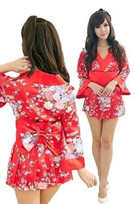 Women's Sexy Lingerie Kimono Printed Satin Nightgowns Bathrobe+waistband+skirt+t-back