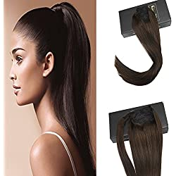 Sunny Real Human Hair Ponytail Extension Darkest Brown Remi Straight Human Hair Extensions 20 Inch Real Hair Ponytail Wrap around Hair Extension 80g