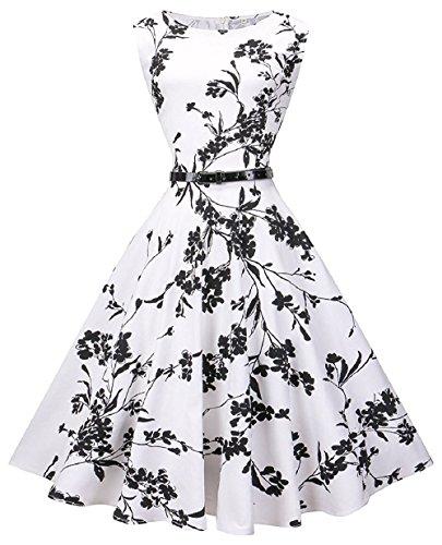 (LaceLady BoatNeck Vintage Sleeveless Tea Dress with Belt Pleated Swing Party Whiteblack)