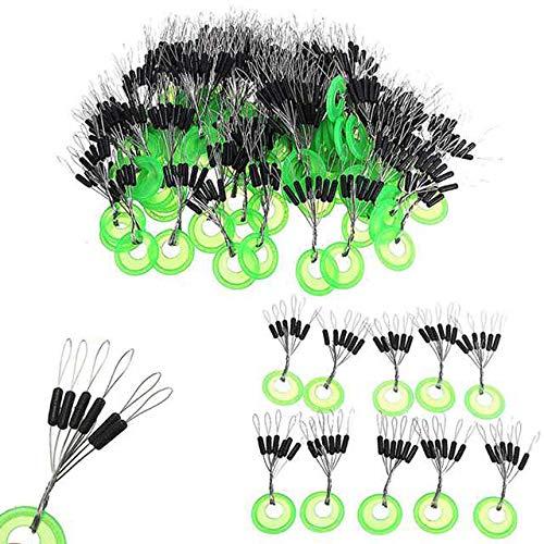 VIPMOON 100 Pcs Fishing Rubber Bobber Beads Stopper,6 in 1 Float Sinker Stops,Black Cylinder Shape Float Stop Available - M