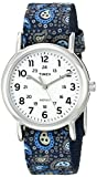 Timex Women's TW2P74200 Weekender Reversible Blue Paisley Nylon Slip-Thru Strap Watch