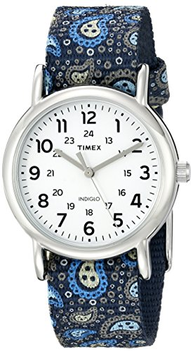 Timex Women's TW2P74200 Weekender Reversible Blue Paisley Nylon Slip-Thru Strap Watch