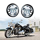 Xprite 4.5' 4-1/2' LED Fog Light Passing Projector CREE Spot Lamp for Motorcycles, Compatible with Harley Davidson 4.5 inch round Spot Lights - Chrome