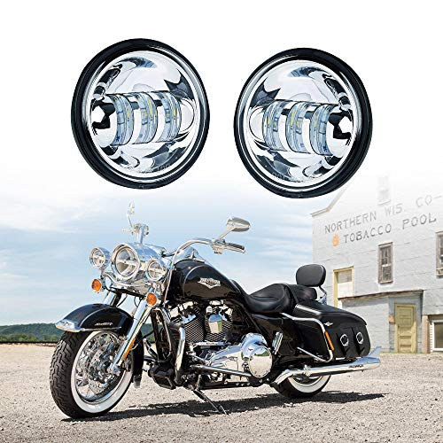 """Xprite 4.5"""" 4-1/2"""" LED Fog Light Passing Projector CREE Spot Lamp for Motorcycles, Compatible with Harley Davidson 4.5 inch round Spot Lights - Chrome"""