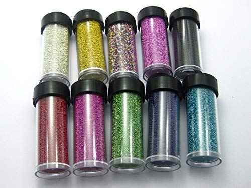 - Calvas 190Gram Glass Micro Beads Microbeads No-Hole 0.6-0.8mm +10 Storage Jars