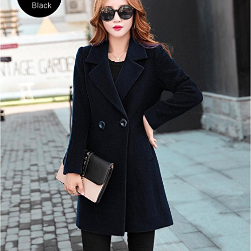 Fit Coat Jacket down Button Outwear Collar Parka Women Cardigan Clothes Turn Like Slim Thicker Overcoat Tianya Black Cashmere q6wZUSf