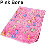 guohanfsh Fashion Soft Bone Paw Print Warm Coral Fleece Mat Blanket Bed Pad Cat Dog Puppy Pet (1Pcs) Pink Bone S