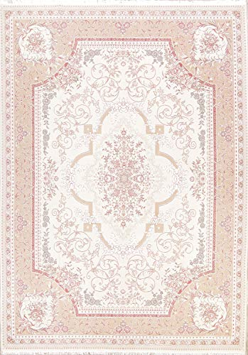 New Tabriz Traditional Medallion Machine Made 10x13 Beige Acrylic/Wool Persian Area Rug (12' 11