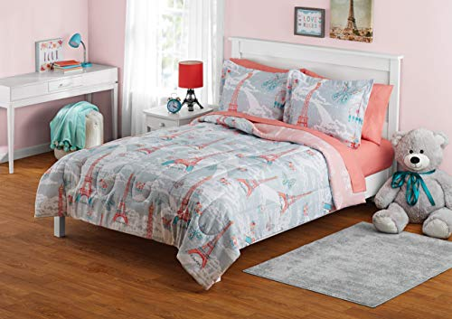 YZ Keep Your Child or Teen Warm and Cozy All Night Long with Bold,Elegant,Fashionable Paris Bed in a Bag Coordinating Bedding Set,Light Gray,Coral,Teal,Full