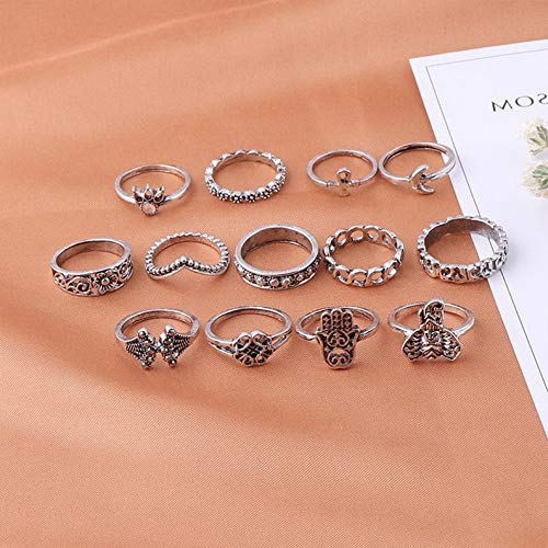 Campton 13Pcs/Set Boho Elephant Fatima Finger Knuckle Ring Band Midi Rings Stacking Ring | Model RNG - 11910 |