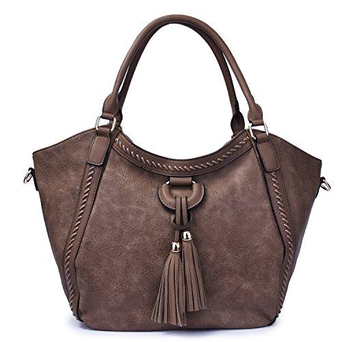 Mn&Sue Women's Hobo Handbag Leather Shoulder Tote Purse Large Top Handle Satchel Roomy Beach Bag with Tassel (Khaki)