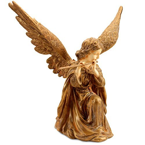 National Tree 24 Inch Polystone Gold Angel Playing Flute, Hand Painted (RAS-110209-G) ()