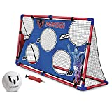 Messi Training System Large Soccer Goal Net and Ball 3 Piece Set - 2 in 1 Foldable Target Practice Soccer Training Equipment for Kids - Includes Size 2 Soccer Ball + Air Pump - Foot Volley Goal