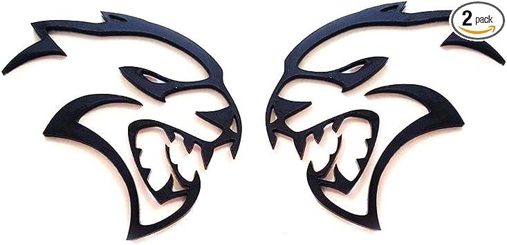 2pcs OEM Black Hellcat Side Emblems Badge 3D Logo Srt Challenger Charger Red