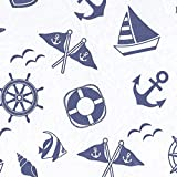 Printed Tissue Paper for Gift Wrapping with Design (Nautical Boats, Anchors, Shells), 24 Large Sheets (20x30)