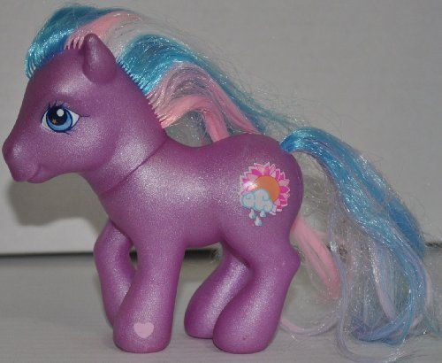 Purple Pony with Blue, Pink, & White Hair (2002 On Back Foot) (Retired) My Little Pony - Hasbro Toy Figure Doll - Loose Out Of Package (OOP)