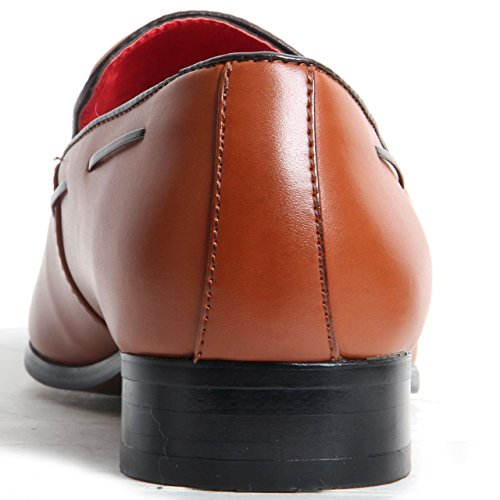 Hommes de antidérapant sur le Daim Doublé Cuir Talon western Mocassins. Point décoratif Chaussures Brown Matte 48mmIgFl