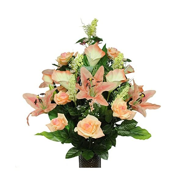 Peach-Rose-Stargazer-and-Lilies-Artificial-Bouquet-featuring-the-Stay-In-The-Vase-Designc-Flower-Holder-LG1017