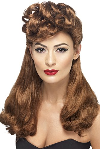 [Smiffy's Women's 40's Vintage Wig, Auburn, Long with Top Curls, One Size, 42459] (50s Wig)