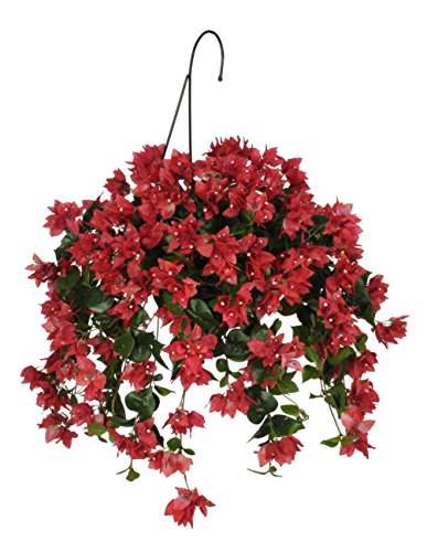 House of Silk Flowers Artificial Watermelon Red Bougainvillea Hanging Basket