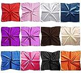 LilMents 12 Mixed Designs Small Square Satin Womens Neck Head Scarf Scarves Bundle Lot Set (Set B)